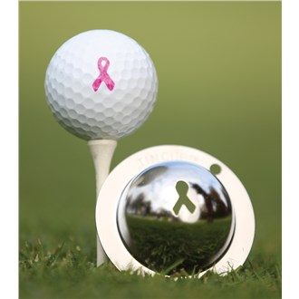 Tin cup ball marker   breast cancer awareness