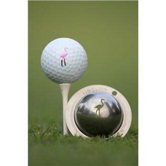 Tin Cup Ball Marker  Pink Flamingo