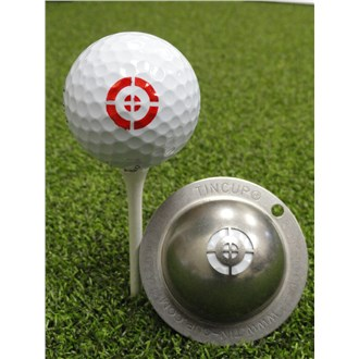 Tin cup ball marker   take aim