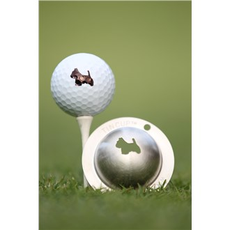 Tin cup ball marker   scotty the terrier
