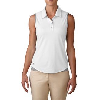 adidas ladies essentials 3 stripe sleeveless polo shirt