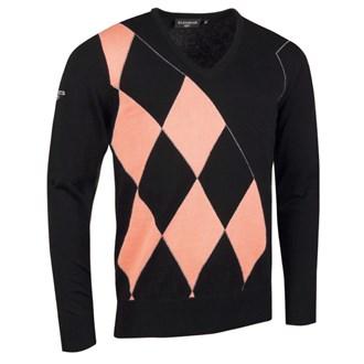 Glenmuir Mens V Neck Offset Diamond Argyle Sweater