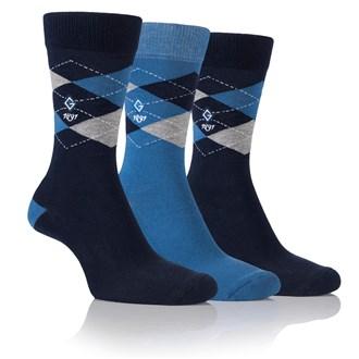 Glenmuir mens argyle jacquard sock gift box (3 pair)