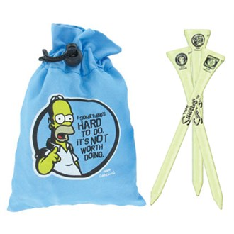 Simpsons wooden tee & pouch set