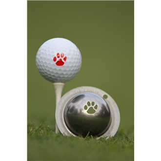 Tin cup ball marker   paw print