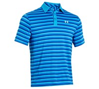Under Armour Mens ColdBlack Tonal Fade Stripe Polo Shirt 2014 (Electric Blue/White)