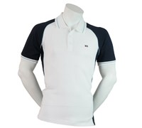 Cutter & Buck Mens Pennant Franklin Pique Polo Shirt (White/Navy)