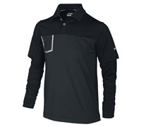 Nike Boys Fashion Long Sleeve Pocket Polo Shirt 2013 (Black/Metallic Silver)