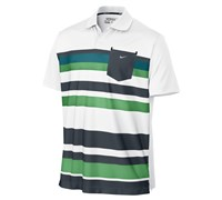 Nike Mens Fashion Stretch Stripe Polo Shirt 2013 (White/Metallic Silver)