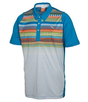 Puma Golf Mens Duo-Swing Fair Isle Stripe Polo Shirt