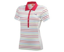 Puma Ladies Yarn Dye Stripe Polo Shirt (Pink/White)