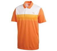 Puma Golf Junior Yarn Dye Stripe Polo Shirt (Vibrant Orange)