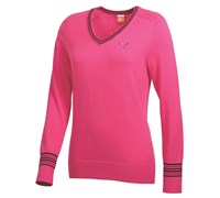 Puma Golf Ladies V Neck Knitted Sweater 2014 (Fuchsia)
