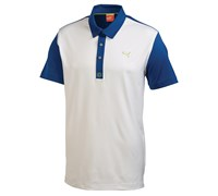 Puma Golf Mens ColourBlock Tech Polo Shirt 2014 (White/Blue)