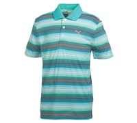 Puma Golf Mens Road Map Stripe Golf Polo Shirt 2014 (White/Blue/Green)