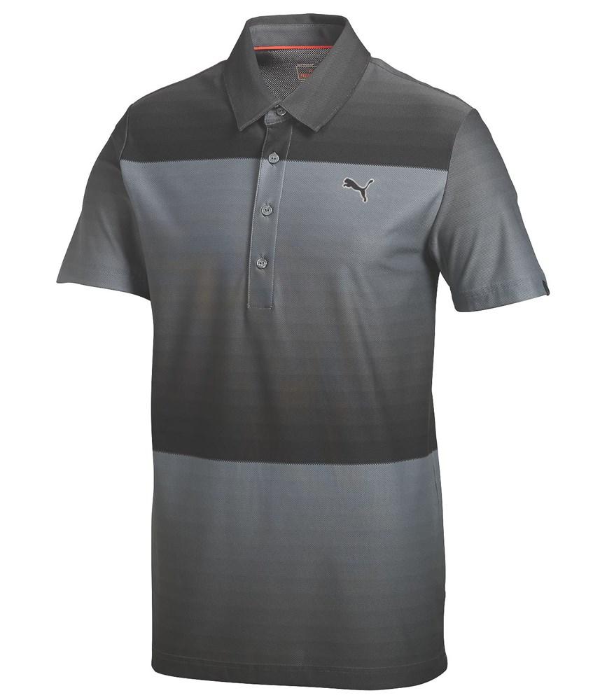 Puma Golf Mens Ombre Stripe Golf Polo Shirt Golfonline