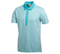 Puma Golf Mens Jaquard Pattern Golf Polo Shirt 2014 (White/Blue)