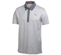 Puma Golf Mens Pattern Print Golf Polo Shirt 2014 (White/Grey)