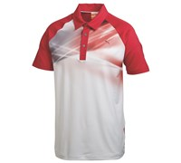 Puma Golf Mens Raglan Graphic Polo Shirt 2014 (White/Red)