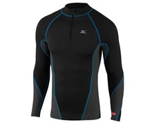 Mizuno Mens Breath Thermo Virtual Body 1/4 Zip Mock (Black/Blue)