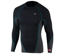Mizuno Mens Breath Thermo Virtual Body Crew Neck Mock (Black/Blue)