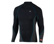 Mizuno Mens Breath Thermo Virtual Body High Neck Mock 2012 (Black/Blue)