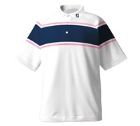 FootJoy Mens Performance Stretch Lisle Chest Stripe Polo Shirt 2013 (White/Navy)