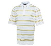 FootJoy Mens Stretch Pique Stripe Set-On-Placket Polo Shirt 2014 (White/Yellow)