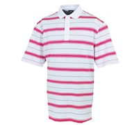 FootJoy Mens Stretch Pique Stripe Set-On-Placket Polo Shirt 2014 (White/Pink)