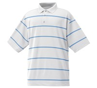 FootJoy Mens Performance Lisle Striped Polo Shirt (White/Ocean)
