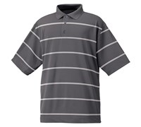FootJoy Mens Performance Lisle Striped Polo Shirt (Charcoal/White)