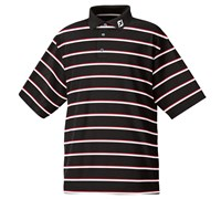 FootJoy Mens Performance Lisle Double Striped Polo Shirt (Black/White/Red)