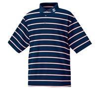FootJoy Mens Performance Lisle Double Striped Polo Shirt (Navy/Charcoal/White)