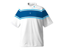 FootJoy Mens Performance Stretch Lisle Chest Stripe Shirt 2013 (White/Blue)