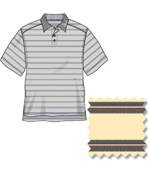 Ashworth Mens Ez-Tech Micro Pima Striped Polo Shirt