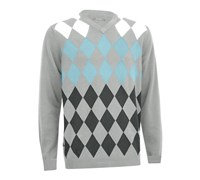 Ashworth Mens Argyle V-Neck Sweater 2013 (Pebble)