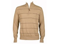 Ashowrth Mens Cotton 1/4 Zip Stripe Sweater