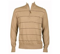 Ashowrth Mens Cotton 1/4 Zip Stripe Sweater (Clay)