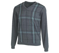 Ashworth Mens Cotton Pattern V-Neck Sweater