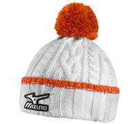 Mizuno Cable Knit Bobble Hat (White/Orange)