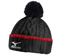 Mizuno Cable Knit Bobble Hat (Black/Red)