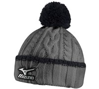 Mizuno Cable Knit Bobble Hat (Charcoal/Black)