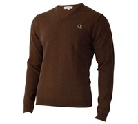 Calvin Klein Mens Super Wool V-Neck Sweater (Bark)