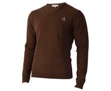 Calvin Klein Mens Super Wool V-Neck Sweater 2012 (Bark)