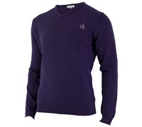 Calvin Klein Mens Super Wool V-Neck Sweater (Purple)