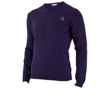 Calvin Klein Mens Super Wool V-Neck Sweater 2012 (Purple)