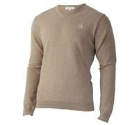 Calvin Klein Mens Super Wool V-Neck Sweater (Putty)