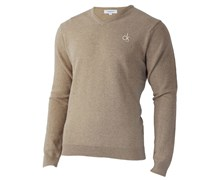 Calvin Klein Mens Super Wool V-Neck Sweater 2012 (Putty)