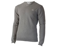 Calvin Klein Mens Super Wool V-Neck Sweater 2012 (Silver)
