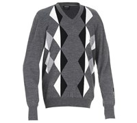 Galvin Green Mens Calden Knitted Sweater (Grey Melange/Black)